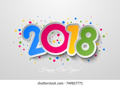 Vector 2018 Happy New Year background with colorful  confetti.