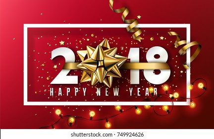 Vector 2018 Happy New Year background with golden gift bow and christmas elements