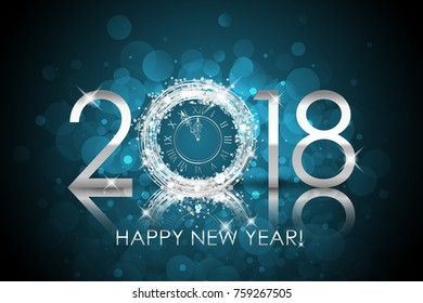 Vector 2018 Happy New Year background with silver clock. New Year card