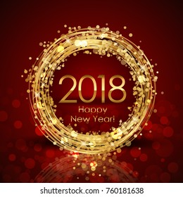 Vector 2018 Happy New Year red and gold background