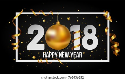 Vector 2018 Happy New Year background with golden christmas ball bauble and stripes elements