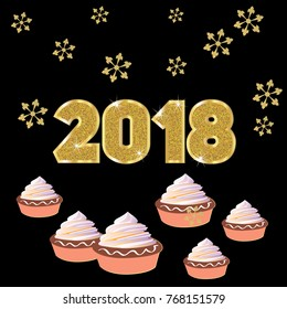 vector 2018 happy new year background decoration with snowflakes and cakes
