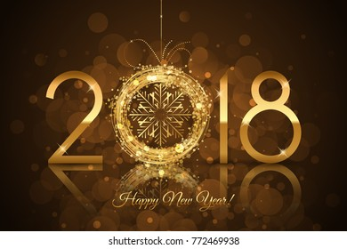 Vector - 2018 Happy New Year background with glowing snowflake