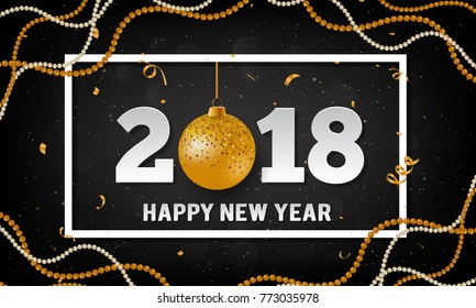 vector 2018 happy new year background with golden christmas ball bauble garland and stripes elements