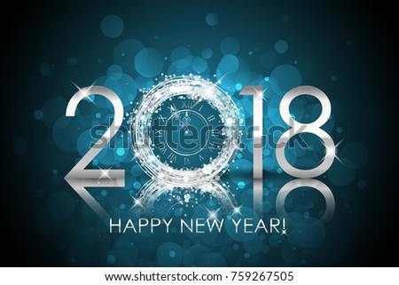 vector 2018 happy new year background with silver clock new year card