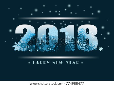 vector 2018 happy new year background with snow 2018 winter background