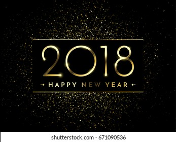 Vector 2018 New Year Black background with gold glitter confetti splatter texture. Festive premium design template for holiday greeting card, invitation, calendar poster, banner
