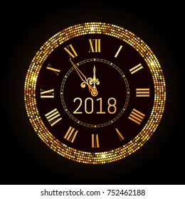 Vector 2018 shiny New Year Clock in gold disco circle frame. Vintage elegant luxury gold clock midnight New Year. Vector illustration EPS 10