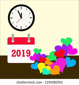 Vector 2019 calendar with clock shown almost midnight time and colorful romantic love hearts balloons.