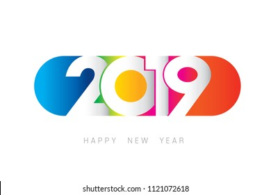 Vector 2019 Happy New Year design with text on white background.