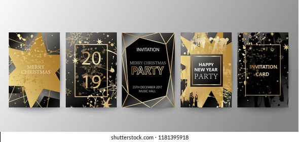 Vector 2019 Happy New Year background with golden splatters, stars, geometric frame. Christmas holiday greeting card.