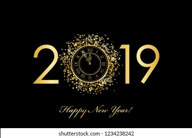 Vector 2019 Happy New Year background with gold clock on black