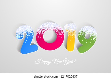 Vector 2019 Happy New Year colorful background with snow