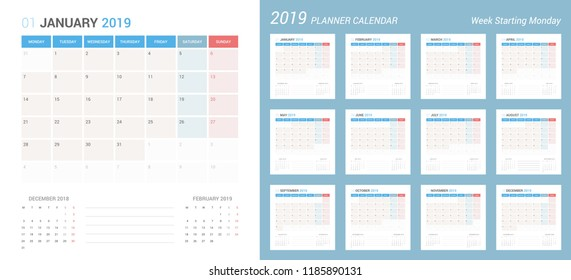 Vector of 2019 new year calendar simple planner design. Week Starts Monday.