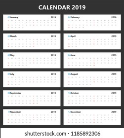 Vector of 2019 new year calendar landscape design.