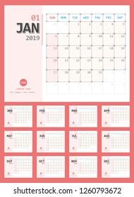 Vector of 2019 new year calendar simple planner design. Week Starts Sunday.