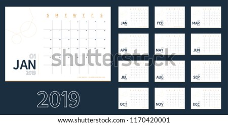 vector of 2019 new year calendar in clean minimal blue table simple style holiday event