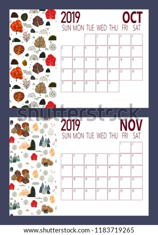 vector of 2019 new year calendar sheet with forest a4 size