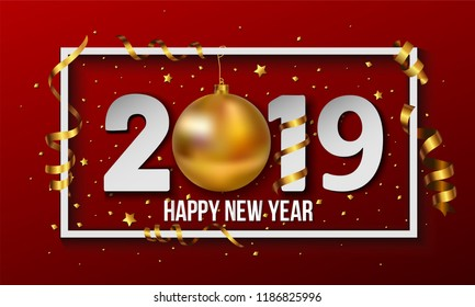 Vector 2019 red Happy New Year background with golden christmas ball bauble and stripes elements