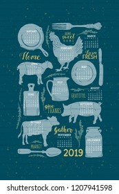 Vector 2019 Vintage Farmhouse Shiplap Calendar in Night Watch Teal, Cornflower Blue, and Gold. Great for gifts, paper crafting, home decor, office supplies, kitchen calendars, and guest room decor.