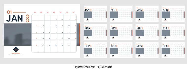 Vector 2020 new year calendar planner template in minimal table simple style blue and grey,orange,Holiday event planner,Week Starts Sunday.12 month layout annual calender.timetable for diary