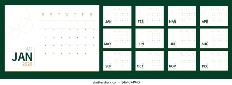 Vector 2020 new year calendar planner template in minimal table simple style green and gold color, ecology Holiday event planner,Week Starts Sunday.12 month layout annual calender.timetable for diary