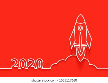 Vector 2020 new year rocket launch. Startup business idea concept design