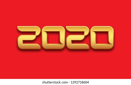 Vector 2020 New year. Shiny gold sign, number 2020 on red background.
