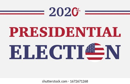 Vector of 2020 USA of presidential election vote banner. American patriotic background election day. Usa debate of president voting. Election voting poster. Political election campaign.