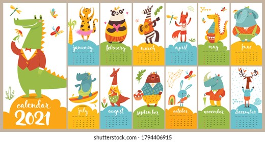 Vector 2021 calendar in cool modern style cartoon with funny wild animals characters in flat style doing different activities.