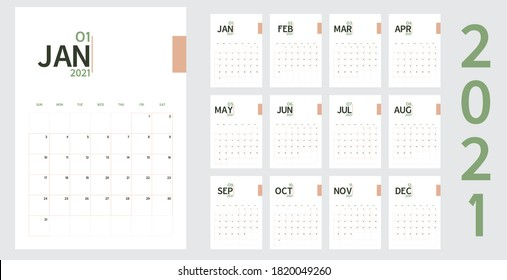 Vector of 2021 new year calendar in minimal table simple style and organic tone green and rose gold color,Holiday event planner,Week Starts Sunday