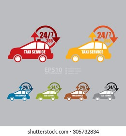 Vector : 24 7 365 Taxi Service Infographics Flat Icon, Sign