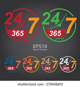vector : 24 7 365, twenty four seven, round the clock service sticker, icon, label, banner, sign