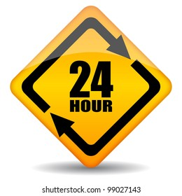 Vector 24 hour customers support sign, eps10 illustration