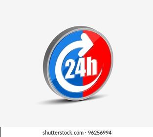 Vector 24 hours icon design element.