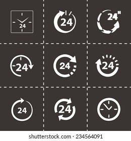 Vector 24 hours icon set on black background