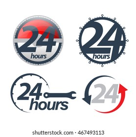 Vector 24 hours icons set. Vector illustration.