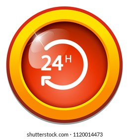 vector 24 hours, support service - 24 hour clock, time sign symbol isolated