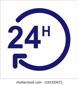 Vector 24 hours, support service - 24 hour clock, time sign symbol isolated.
