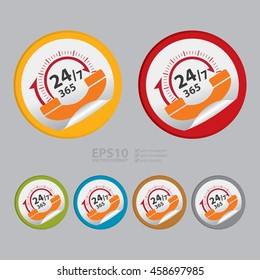 Vector : 24/7 365 Days Call Center Infographics Icon on Circle Peeling Sticker