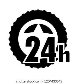 vector 24h service illustration - open 24h symbol, assistance sign symbol