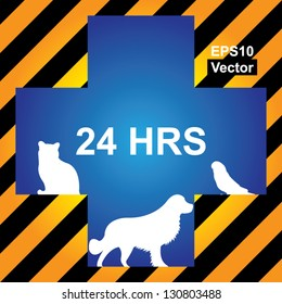 Vector : 24HRS Veterinary Care, Pet Hospital or Pet First Aid Sign Present By Blue Cross With Cat, Dog and Bird Sign Inside in Caution Zone Dark and Yellow Background