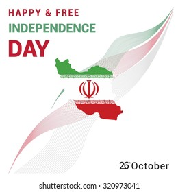 Vector 26 October Iran Independence Day. Country Flag with map and red and green lines pattern background. Celebration Card. Illustration
