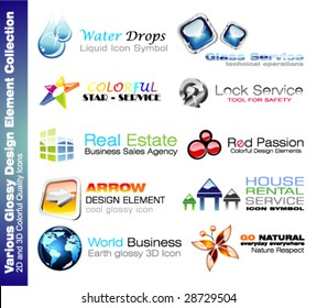 VECTOR 2D and 3D Glossy Colurful Design elements