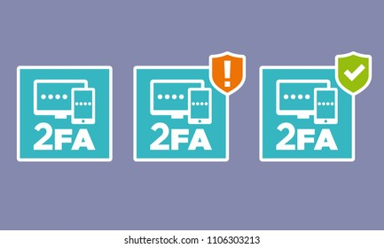 Vector 2FA icons with not set up and set up indicator versions