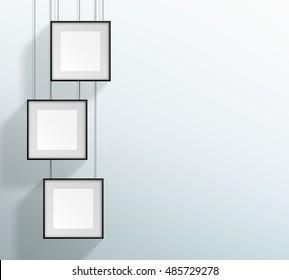 Vector 3 Blank Black Realistic Square Hanging Frames Design