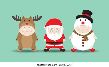 Vector 3 Cute Boys in Reindeer, Santa Claus, Snowman costume Cartoon
