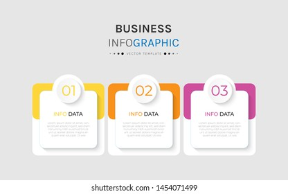 Vector 3 options and steps Infographics Template Design. Business data visualization timeline template design.