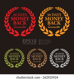 Vector : 30 Days Money Back Guarantee Wheat Laurel Wreath, Badge, Label, Sticker, Sign or Icon