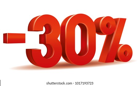 Vector of -30 percent in white background